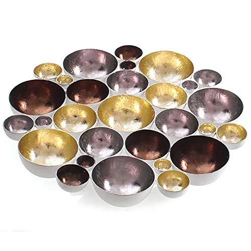 XXL Teelichthalter oder Wandobjekt aus Metall 20-40 cm Farbe gold-silber-kupfer, Größe ca. 30 cm