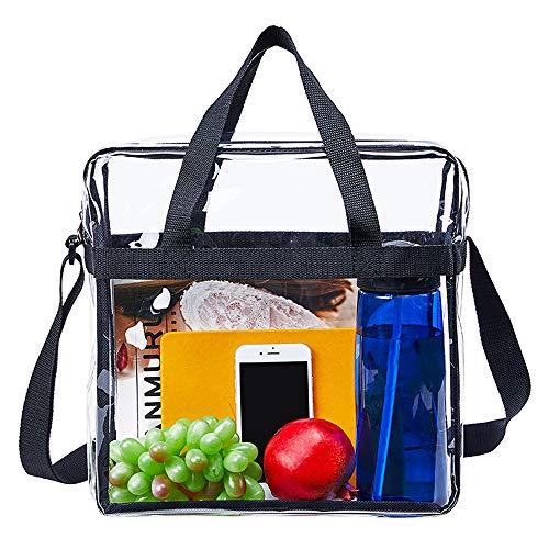 Klar tygväska, NCAA NFL&PGA Stadium godkänd, klar crossbody väska med justerbar axelrem och dubbel dragkedja för arbete, skola, sportspel och konserter – 30 x 30 x 15 cm