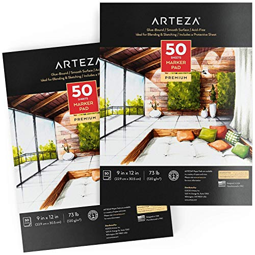 Arteza 9x12 Inches Marker Paper Pad, 2-Pack, 50 Sheets, Glue-Bound, Smooth Coated Marker Paper for Alcohol Markers & Pigment Markers, Art Supplies for Drawing, Sketching, Coloring, Lettering