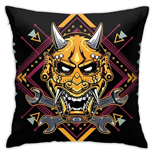 N/Q Decorative Soft Polyester Cushion Covers for Sofa Car 45 x 45 cm Square Throw Pillow Covers Devil Mask Hannya Pillowcases with Invisible Zipper 1 Pack