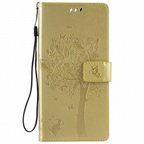 LEMORRY Hülle für Sony Xperia C5 Ultra Hülle Tasche Geprägter Ledertasche Beutel Schutz Schließung SchutzHülle Weich Silikon Cover Schale für Sony C5 Ultra E5553, E5506, Glücklicher Baum Gold