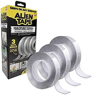 ALIENTAPE Nano Double Sided Tape, Multipurpose Removable Adhesive Transparent Grip Mounting Tape Washable Strong Sticky Heavy Duty for Carpet Photo Frame Poster Décor As Seen On TV 10 Feet Set of 3 by Emson