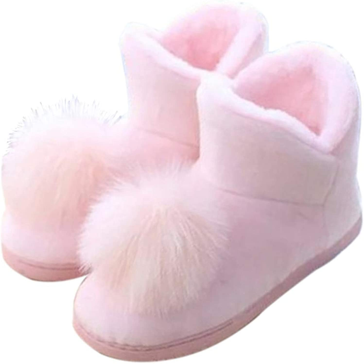 SANOMY Womens Home Slippers Cotton Plush Non-Slip Boots Soft Warm Latex Sew shoes for Indoor and Outdoor