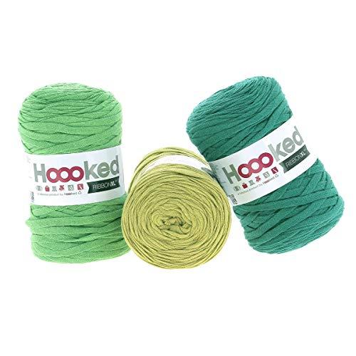 Hoooked RibbonXL Sparset aus 3 Rollen je 120 Meter Riesen-Textilgarn aus recycelter Kleidung in Greenbay