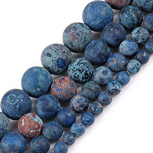 NHFVIRE Turquesa Azul Natural Mate Ronda de Piedras Sueltas para joyería para Hacer Bricolaje Accesorios de Pulsera 4-10mm 8mm 46pcs Beads