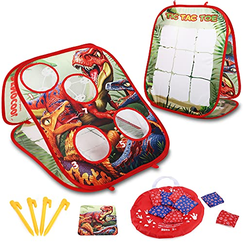 Bean Bag Toss Game for Kids, Toddler Games Toys for Ages 2 3 4 5 Year Old Boy, Gifts for Kids Birthday or Christmas, Dinosaur Themed with 8 Bean Bags