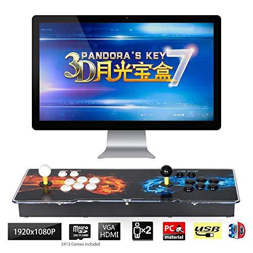 TAPDRA Consola de Juegos Retro Arcade 3D Pandora Key 7 4188 Retro HD Games (Juegos 3D 160 en uno incluidos) HD 1280x720 Soporte multijugador Agregar más Juegos Salida de Audio HDMI/VGA/USB/3,5mm