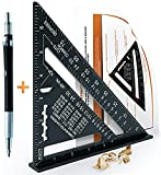 Aluminum Speed Square - MULTIFUNCTIONAL 7″ - Carpenter Square + Pencil + Instructions - Ruler, Square, Marking Gauge, Guide, Protractor - Angles 45 90 Degrees - Carpenter Tools/Woodworking Tools