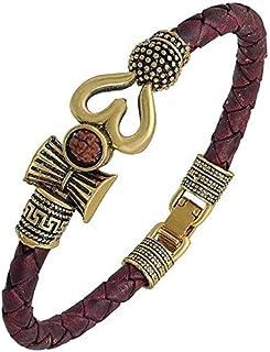 Mahadev Leather Gold Bracelet Om Trishul Damru Rudraksh Special Kada Bracelet for Men and women