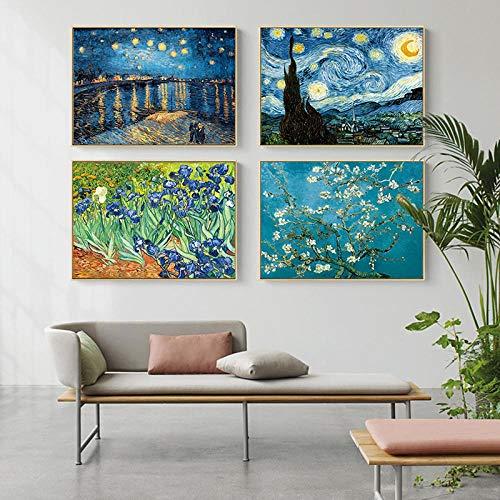 Famoso artista Van Gogh Pintura al óleo Cielo estrellado Iris Flor Amanecer Paisaje Lienzo Pintura Imprimir Póster Imagen Decoración de pared 16