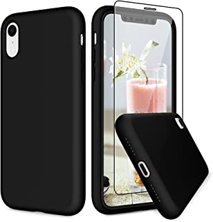 VEGO Compatible for iPhone XR Rubber Case, Slim Silicone Case with Tempered Glass Screen Protector, Anti Scratch Bumper Mi...