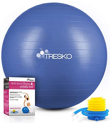 TRESKO® Pelota de Gimnasia Anti-Reventones | Bola de Yoga Pilates y Ejercicio | Balón para Sentarse | Balon de Ejercicio para Fitness | 300 kg | con Bomba de Aire (Azul índigo, 65cm)