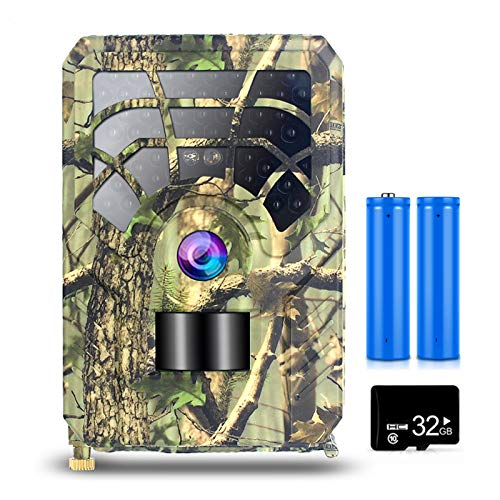 Funien trail and game camera, 5MP 480P Trail en Game Camera Motion Activated Jacht Camera Outdoor Wildlife 46 LEDs Nachtzicht Scouting Camera met 32 GB MicroSD kaart en 2 Batterijen