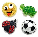 Kids' Reusable Cute Animal Cartoon Shaped Cold Packs (Pack of 4): Baby Turtle, Little LadyBug, White Soccer Ball, and Yellow Smiley Face By Assured (Kids 3+)