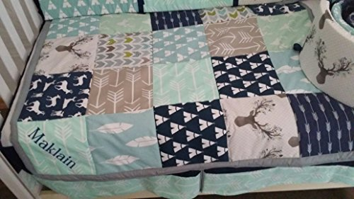 Woodland 1 to 4 Piece baby boy nursery crib bedding Quilt, bumper, and bed skirt, Buck, deer, fawn, head silhouette, Arrow, Teepee, Aztec, Navy, Mint, Gray, Lt Blue
