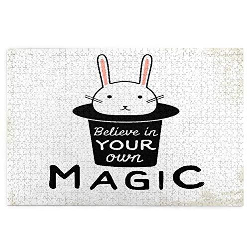 Rompecabezas de 1000 Piezas,Rompecabezas de imágenes,Cree en tu Propio Conejo mágico Divertido Juguetes Puzzle for Adultos niños Interesante Juego Juguete Decoración para El Hogar