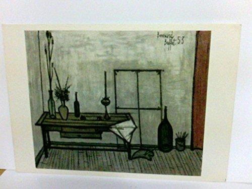 Künstler AK Bernard Buffet. Interieur provencal. Serie Buffet Nr. 446. Tisch, Vasen mit Blumen, Flaschen, Inneneinrichtung