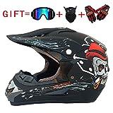 ygfs Cool Skull Dual Sport Kinder Moto Cross Helm, D.o.t Zertifiziert Mx Off-Road Scooter ATV Erwachsene Helm Tragen Brille/Handschuhe/Maske