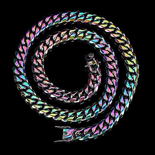 Sobneqce Hip Hop Rainbow Color Chapado Acero Inoxidable Cubano Link Collar Joyería, Enlace Cubano de Miami, Cadena de Cierre de Rhinestone Regalo (Color : Multicolor65cm, tamaño : 8MM)