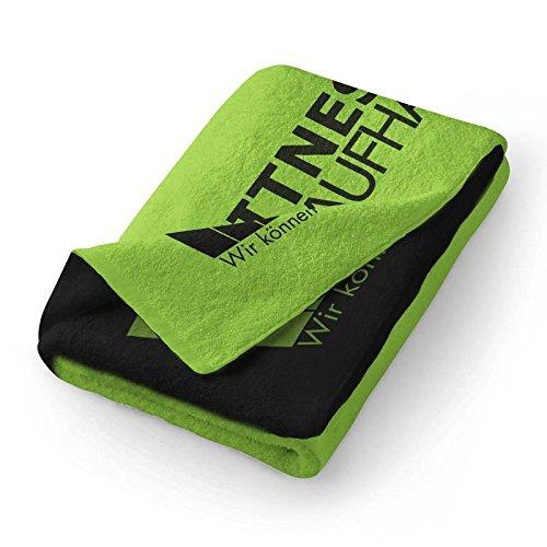 Fitness Handtuch Trainingshandtuch Sporthandtuch Grün/Schwarz 100x50cm towel (100{7bea1277f591bd9ade9bf305c6a6bd5564267738c76177e0513e9f40cffe3cc9} Baumwolle) Fitnesskaufhaus.de