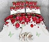 EZEZWSNBB Funda de edredón 200x200 cm Rosa roja y Cisne Juego de Cama de poliéster Microfibra Cremallera Juego de Funda de edredón x1 y Funda de Almohada Juego x2 Adulto Niños