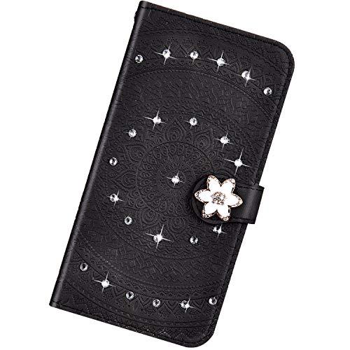 Urhause Kompatibel mit Samsung Galaxy S8 Plus,Mandala Prägung Glitzer Ledertasche PU Flipcase Handytasche Ständer Mit Magnetverschluss Schlüsselband Schutzhülle,schwarz