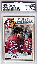 John Hannah Signed 1979 Topps Trading Card - PSA/DNA Authentication - Autographed NFL Football Memorabilia