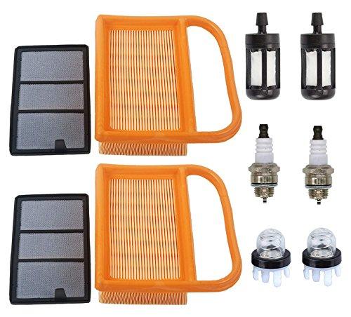 OxoxO faciles à 4238 140 4401 Air Pré-Filtre Primer Ampoule Filtre à Carburant avec Bougie d'allumage pour Stihl Béton Coupées Saw Ts410 Ts410z Ts420 Ts420z 2 Set