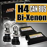 Kit de faros H4-Bixenon, 6000 K, 55 W, superluminosos, compatibles con cualquier coche/moto, antirreflejo + deslumbramiento todo xenón con centralitas finas, 55 W, luz blanca, montaje fácil
