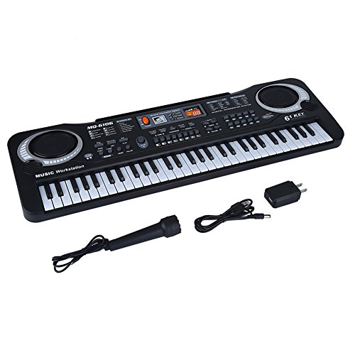 VGEBY Electronic Keyboard Piano, Portable 61-Key Electric Digital Piano with Microphone, USB Cable, US Plug Charger