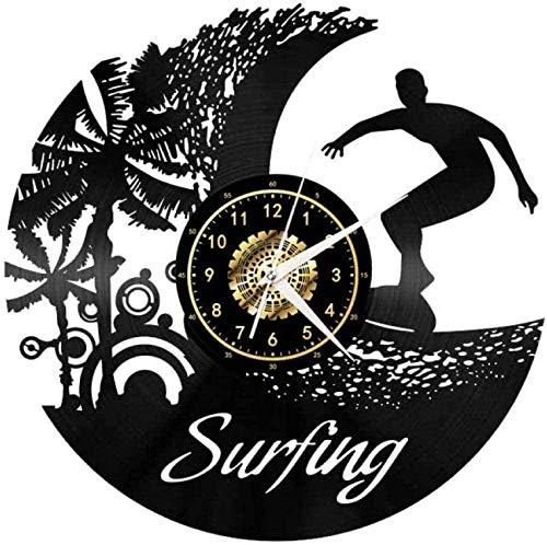WJUNM Reloj de Pared de Vinilo Reloj de Pared de Surf Reloj de Pared de Vinilo silencioso con Regalo Ligero