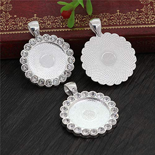 WANM 5pcs 20mm Inner Size Bright Silver Plated Rose Gold Transparent Rhinestone Style Cameo Cabochon Base Setting Pendant