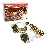 HQRP Prismáticos de ópera / Binocular de Teatro de estilo antiguo 4 x 30 blanco nacarado...
