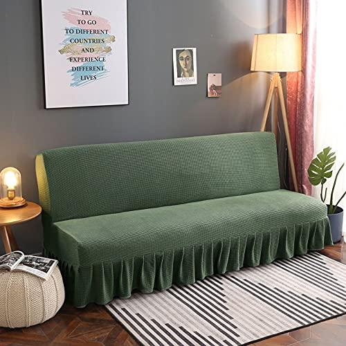 DGSGBAS con Falda Sin Brazos Funda de sofá Futón Couch, 3/2 Plazas Funda Clic Clac 160cm Marron Azul Cubre Sofa Cama Sin Brazos Estampada Cubre Sofá Sin Reposabrazos Protector para Sofa