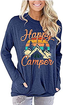Happy Camper Shirt Women Funny Camping Graphic Tee Long Sleeve Letter Print Casual T Shirts (Blue,Medium)