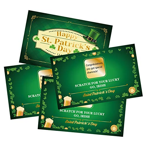 StPatrick Day Fortune Cards – Shamrock Irish Lucky Scratch Off Games Supplies Activity 48players