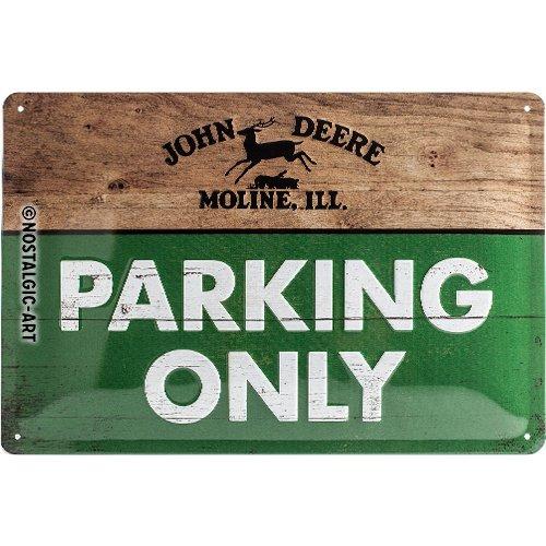Nostalgic-Art 22258, John Deere Parking Only, Plaque en tôle 20 x 30 cm, métal, Multicolore, 20 x 30 x 0,2 cm