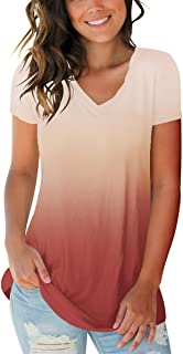 Women's Basic V Neck Short Sleeve Floral T Shirts Summer Casual Tops
