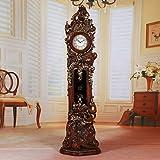 SVHK Reloj de Talla de Madera Maciza, Reloj mecánico, 74'Reloj de pie Grande, maquinaria silenciosa Reloj de pie Tridimensional para la Cocina de la Isla de la Cocina Sala de Estar