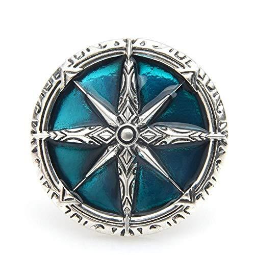U/N Broches de Insignia de Estrella de Color Plateado Retro para Mujeres Hombres Broche de Banquete Redondo marrón Azul Pines-1