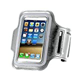 Water-Resistant Cellphone Armband for iPhone 8/7/6S/6/5S/5C,CaseHQ case Running Sports Armband for iPhone, Samsung, Huawei, Moto, Google and Devices up to 5.2 Inch - (Fits Arm Girth 9'-15') -Silver