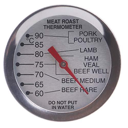 Oven Vlees Thermometer Wijzerplaat - Laat in Oven voor het roosteren van rundvlees, lam, Turkije, Ham, Kalfsvlees, Varkensvlees en biefstuk met Aanbevolen Koken Temperaturen voor Vlees en Gevogelte