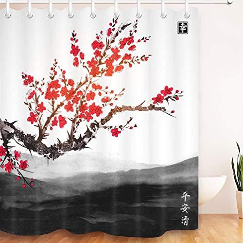 LB Cherry Duschvorhang Wasserdicht Anti-Schimmel Badvorhänge Oriental Sakura Rote Blumen Baum Landschaft Far Mountains Muster Polyester Stoff Wohnkultur Zubehör mit 12 Vorhang Haken 180x180cm