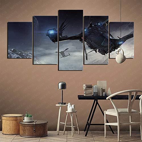 YITUOMO 5 Gemälde für Heimdekoration Heimdekoration Gemälde (Planet, Landung, Raumschiff, Berge, Tapete für Sternbürger) Poster HD-Drucke, Kunstwerk Geschenk 200x100cm Rahmenlos