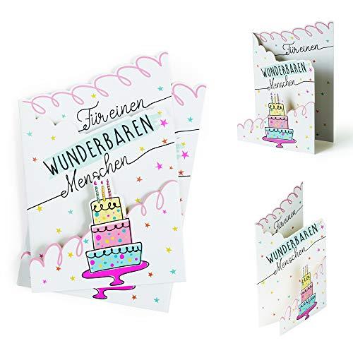 Geburtstagskarte (2 Stück) modern Für einen wunderbaren Menschen | Karte Geburtstag für Sie oder Ihn | Glückwunschkarte oder Gutschein zum Aufstellen, 3D Effekt, X019