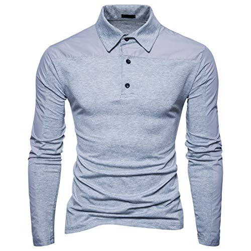MENHG Men's Long Sleeve Polo Shirts Solid Colour Stretch Cotton Quarter Buttons Tunic Tops Sweatshirt Men Lapel Casual Elegant Golf T-shirt Sports Fitness Blouse Pullover Slim Fit Bussiness Outwear