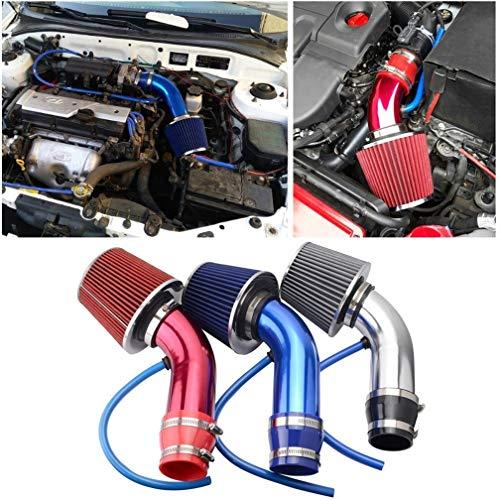 BIingkee Universal Sportluftfilter Auto Aluminium Pipe Power Flow Kit, 76mm 3 Zoll Universal Luftkühlung Lufteinlassfilter Kit, Universal Kohlefaser Lufteinlasssystem mit Schlauch (Rot)