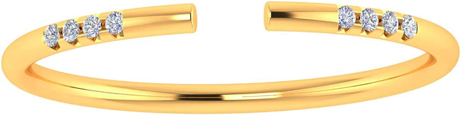 ASHNE JEWELS IGI Certified, White Diamond Open Band Ring Fine Jewelry Made in 14K Solid Yellow Gold For Women & Girls