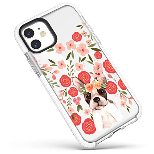 Clear Case for iPhone 12 Mini,Trendy Funny Puppy Dog French Bulldog with Pink Flowers Floral Wildflowers Girls Women Adorable Soft Protective Clear Case with Design Compatible for iPhone 12 Mini
