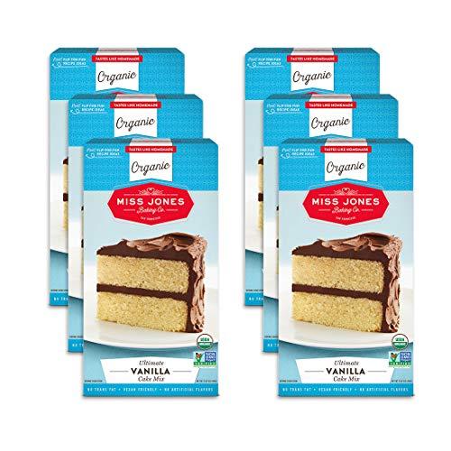 Miss Jones Baking Organic Yellow Cake and Cupcake Mix, Non-GMO, Vegan-Friendly, Moist and Fluffy: Vanilla (Pack of 6)